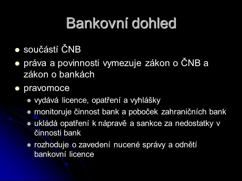 Bankovní dohled součástí ČNB