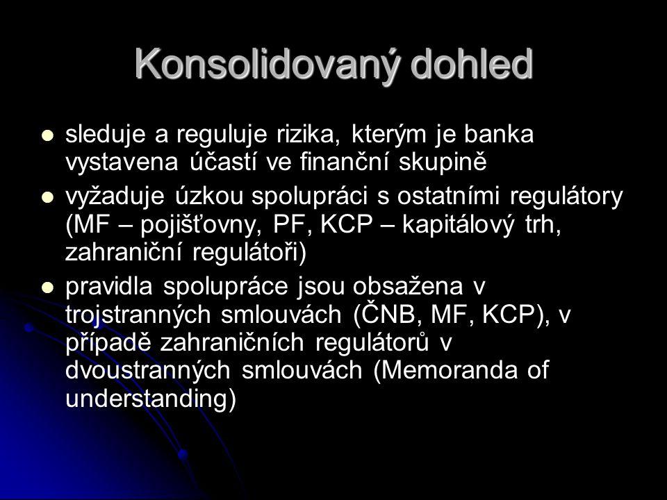 Konsolidovaný dohled sleduje a reguluje rizika, kterým je banka vystavena účastí ve finanční skupině.