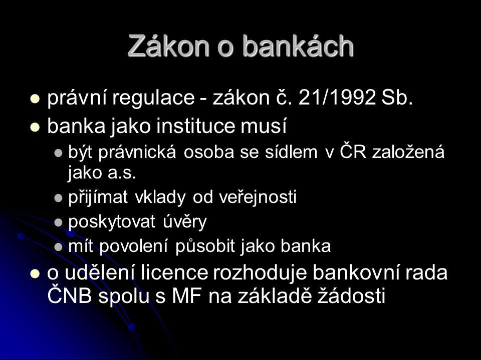 Zákon o bankách právní regulace - zákon č. 21/1992 Sb.