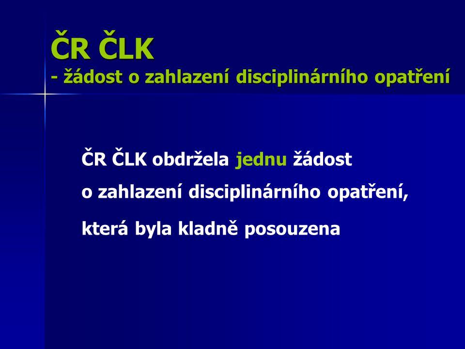ČR ČLK - žádost o zahlazení disciplinárního opatření