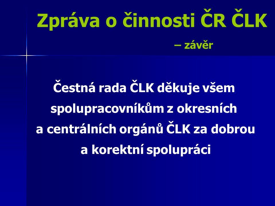Zpráva o činnosti ČR ČLK – závěr