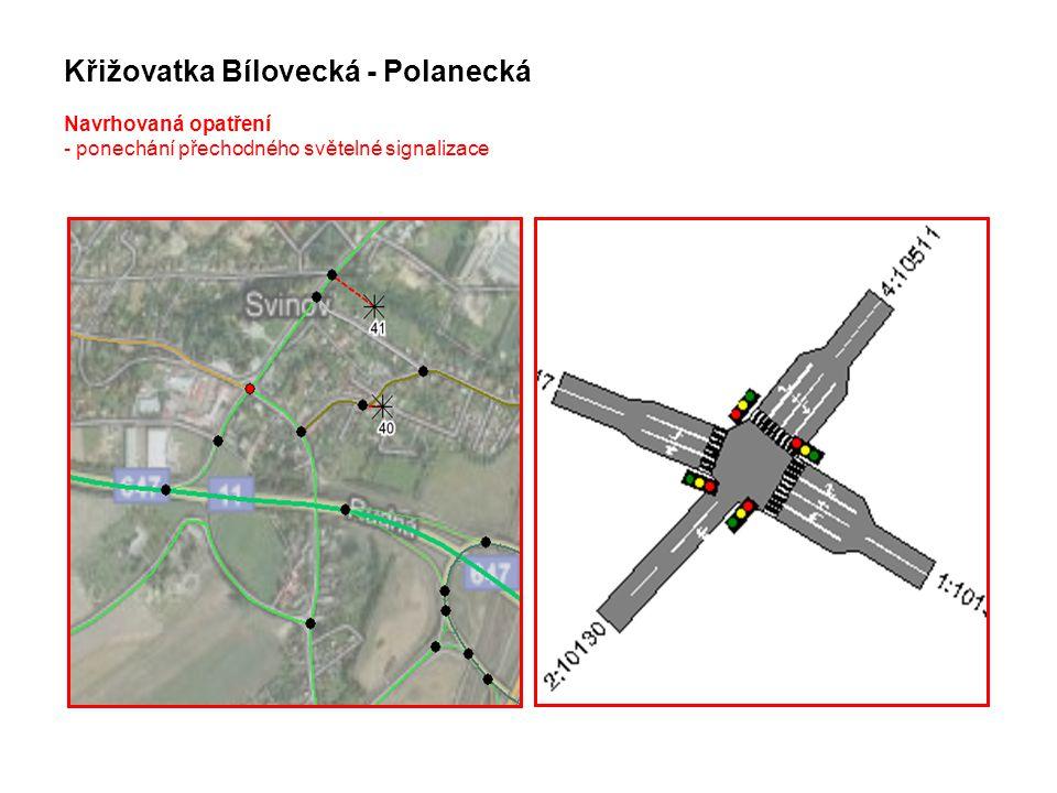 Křižovatka Bílovecká - Polanecká Navrhovaná opatření - ponechání přechodného světelné signalizace