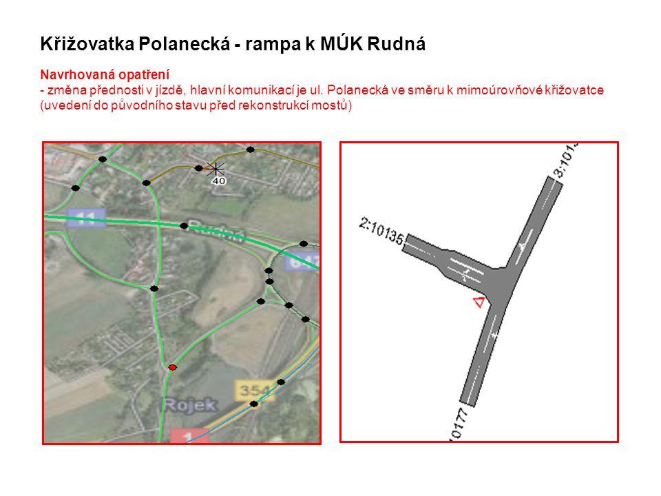 Křižovatka Polanecká - rampa k MÚK Rudná Navrhovaná opatření - změna přednosti v jízdě, hlavní komunikací je ul.