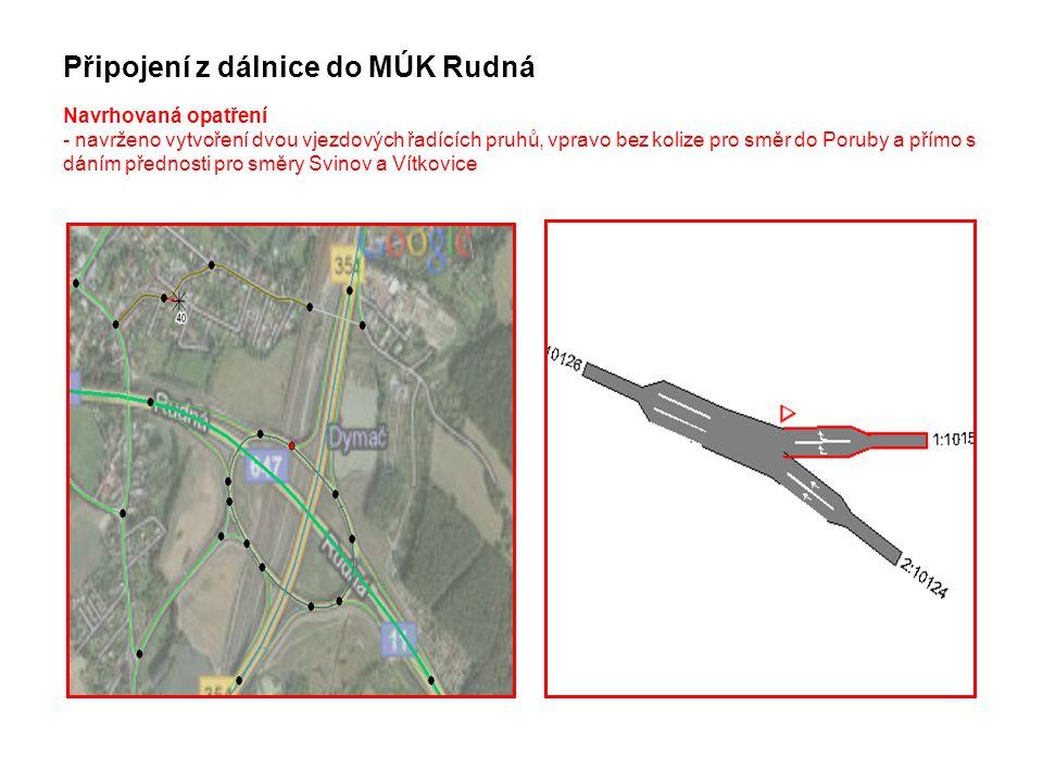 Připojení z dálnice do MÚK Rudná Navrhovaná opatření - navrženo vytvoření dvou vjezdových řadících pruhů, vpravo bez kolize pro směr do Poruby a přímo s dáním přednosti pro směry Svinov a Vítkovice