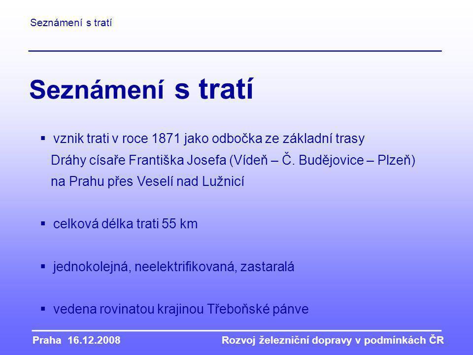 Seznámení s tratí Seznámení s tratí. vznik trati v roce 1871 jako odbočka ze základní trasy.