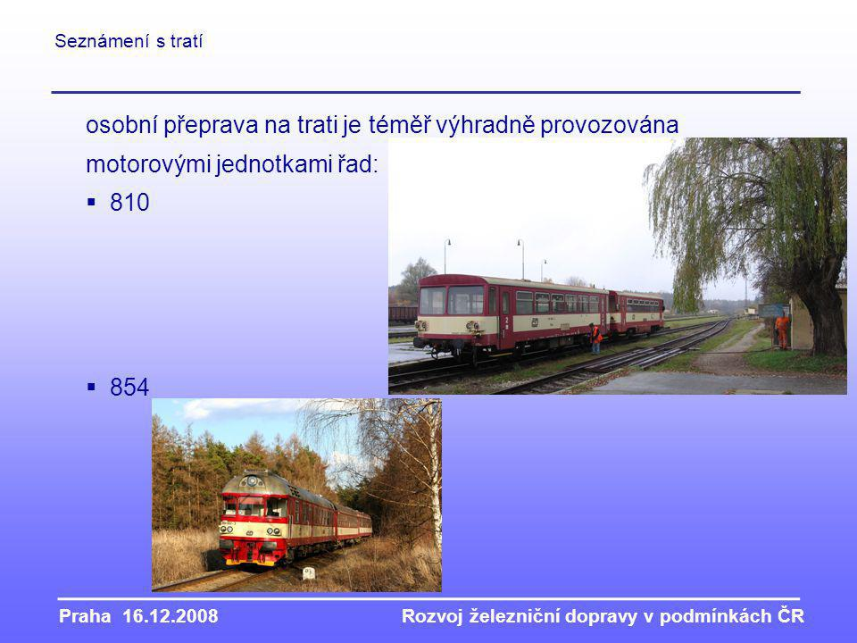 osobní přeprava na trati je téměř výhradně provozována