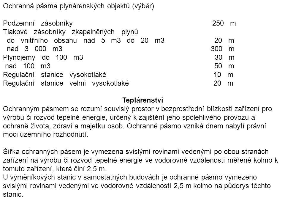 Ochranná pásma plynárenských objektů (výběr)