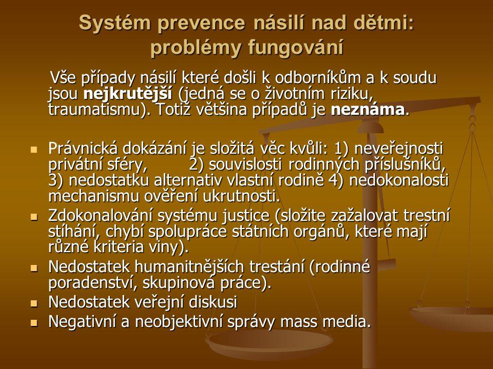 Systém prevence násilí nad dětmi: problémy fungování