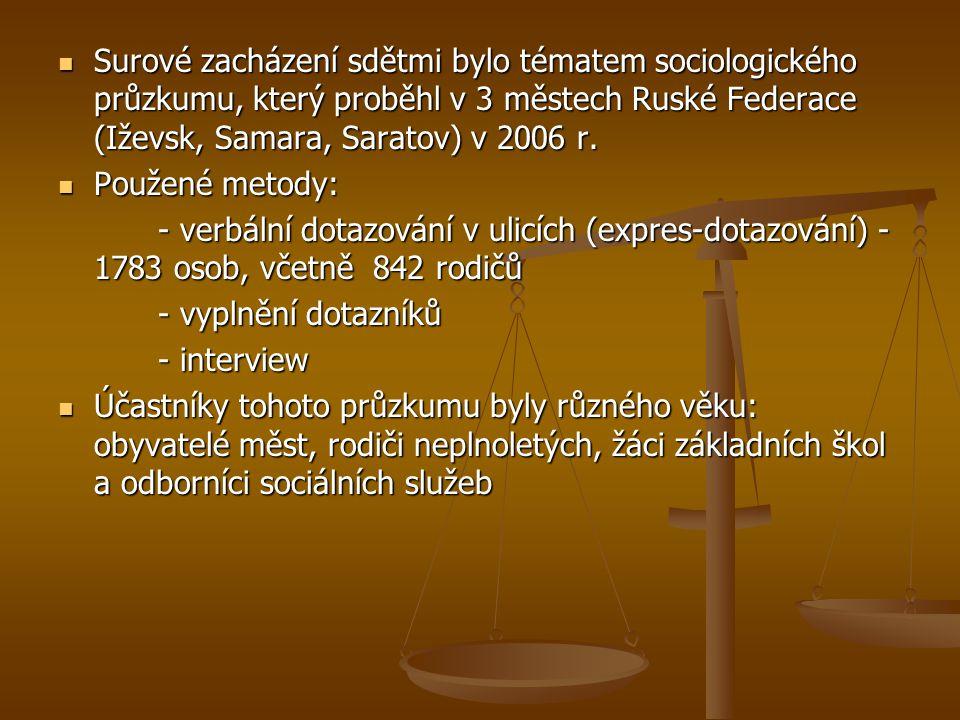 Surové zacházení sdětmi bylo tématem sociologického průzkumu, který proběhl v 3 městech Ruské Federace (Iževsk, Samara, Saratov) v 2006 r.