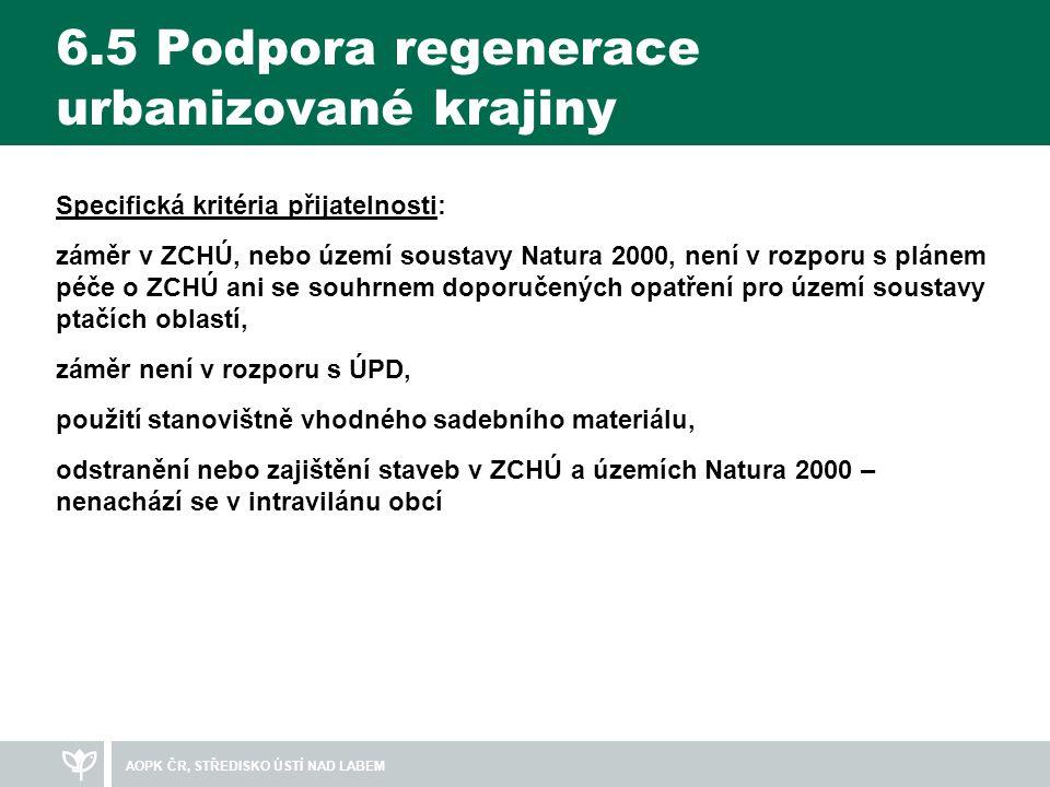 6.5 Podpora regenerace urbanizované krajiny