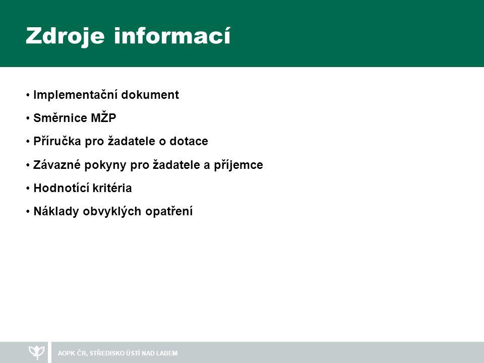 Zdroje informací Implementační dokument Směrnice MŽP