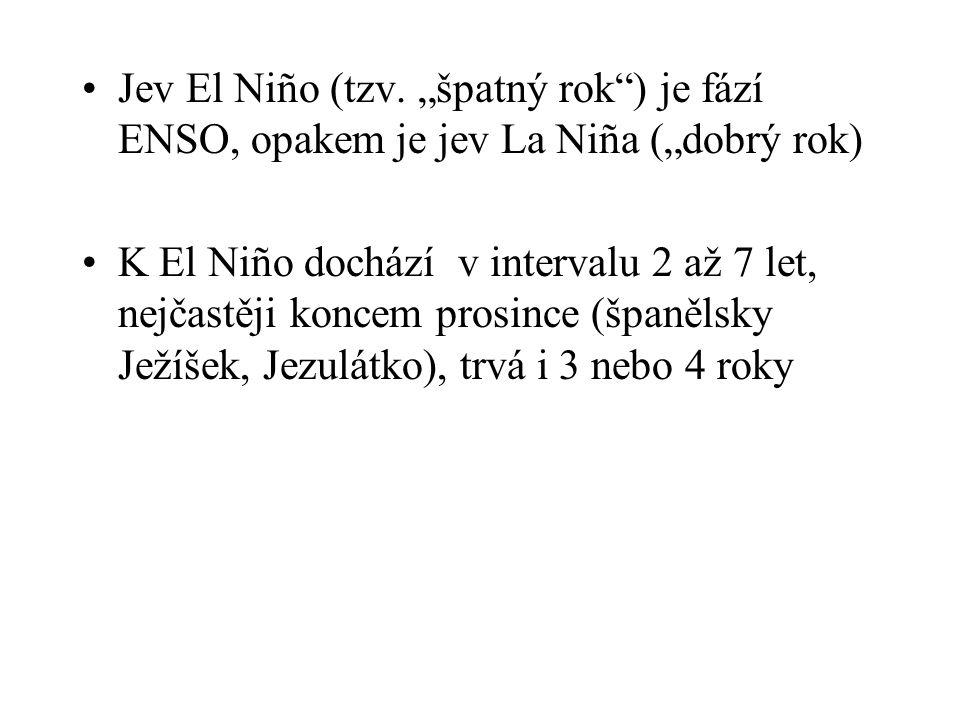 """Jev El Niño (tzv. """"špatný rok ) je fází ENSO, opakem je jev La Niña (""""dobrý rok)"""