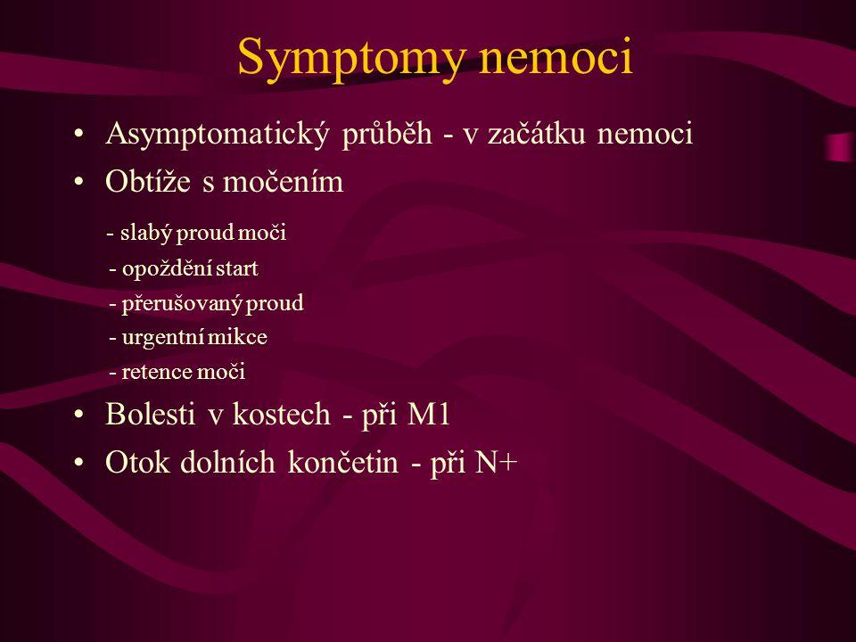Symptomy nemoci Asymptomatický průběh - v začátku nemoci