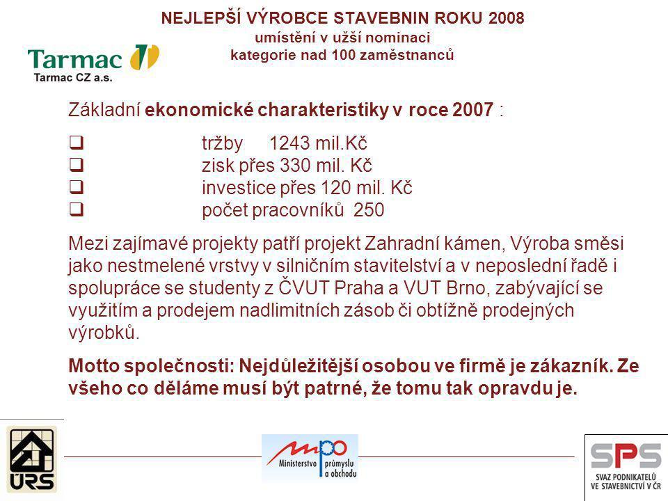 Základní ekonomické charakteristiky v roce 2007 : tržby 1243 mil.Kč