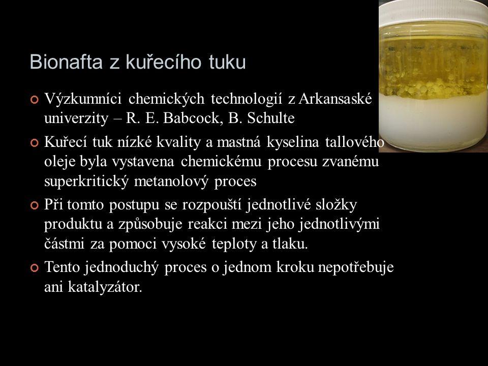 Bionafta z kuřecího tuku