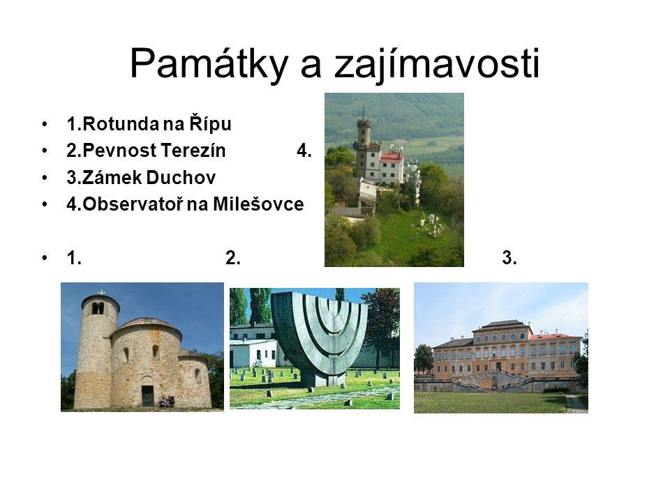 Památky a zajímavosti 1.Rotunda na Řípu 2.Pevnost Terezín 4.