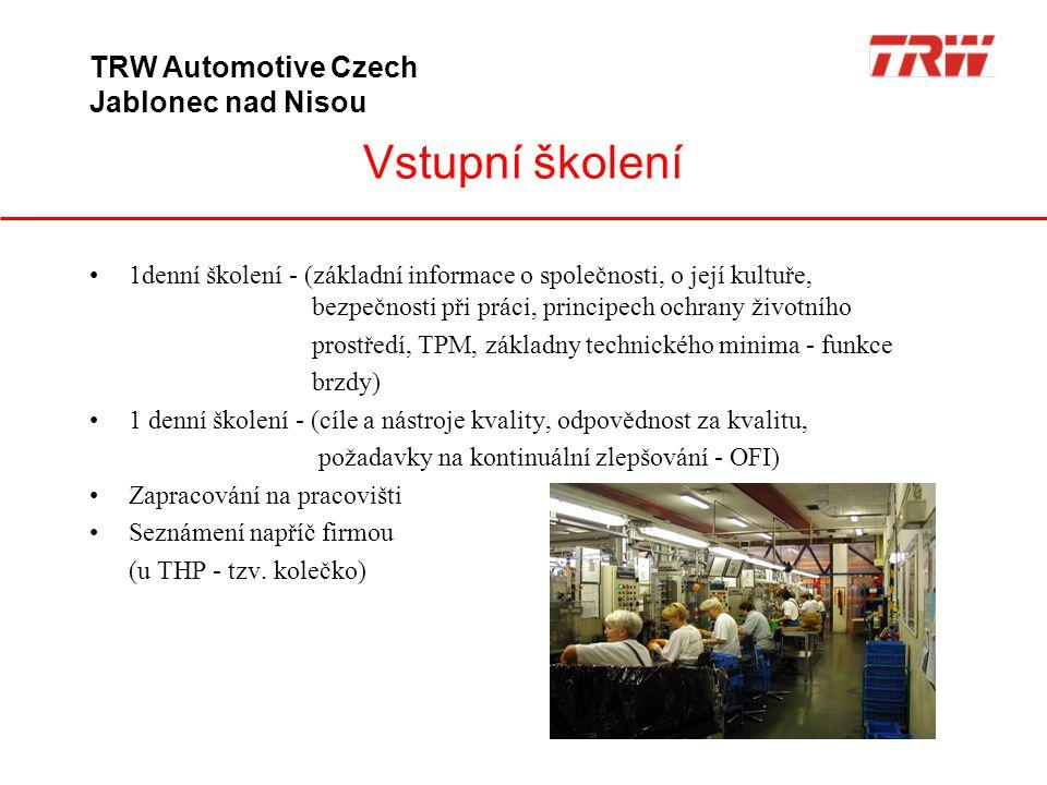 Vstupní školení TRW Automotive Czech Jablonec nad Nisou
