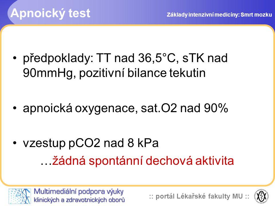 předpoklady: TT nad 36,5°C, sTK nad 90mmHg, pozitivní bilance tekutin