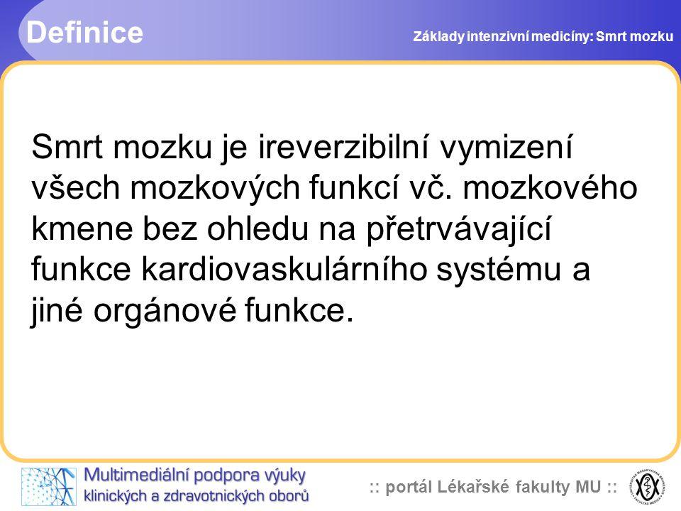 Definice Základy intenzivní medicíny: Smrt mozku.