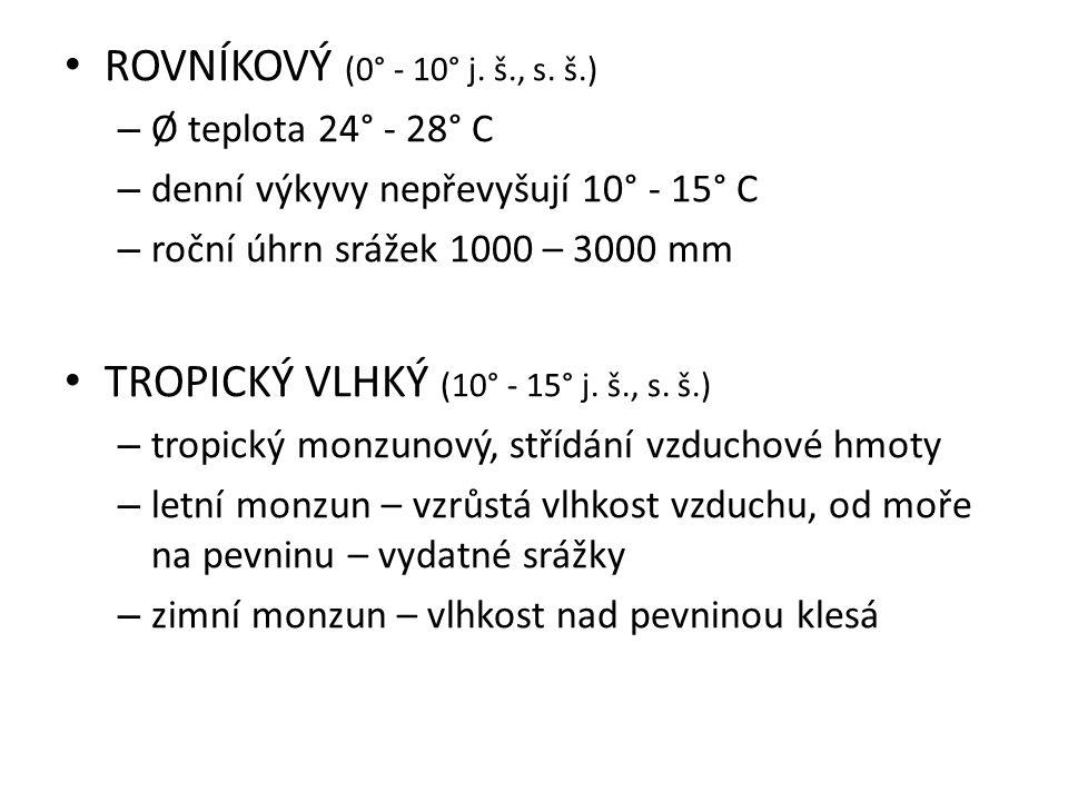 TROPICKÝ VLHKÝ (10° - 15° j. š., s. š.)