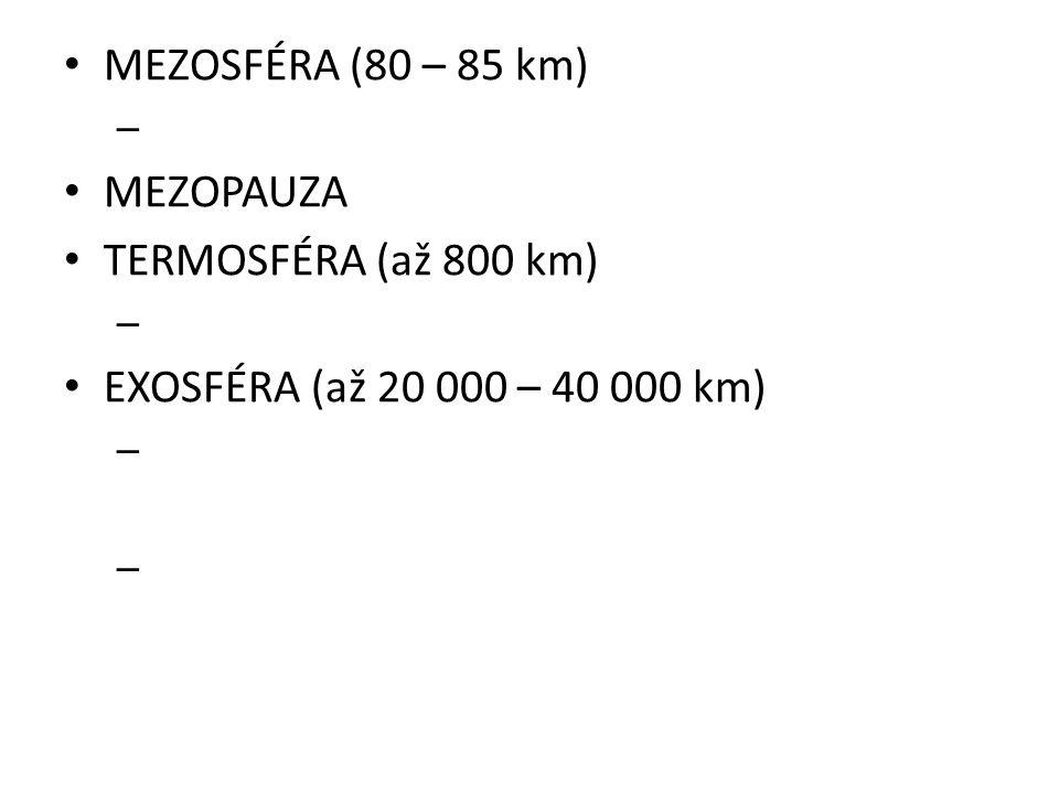 MEZOSFÉRA (80 – 85 km) MEZOPAUZA TERMOSFÉRA (až 800 km) EXOSFÉRA (až 20 000 – 40 000 km)