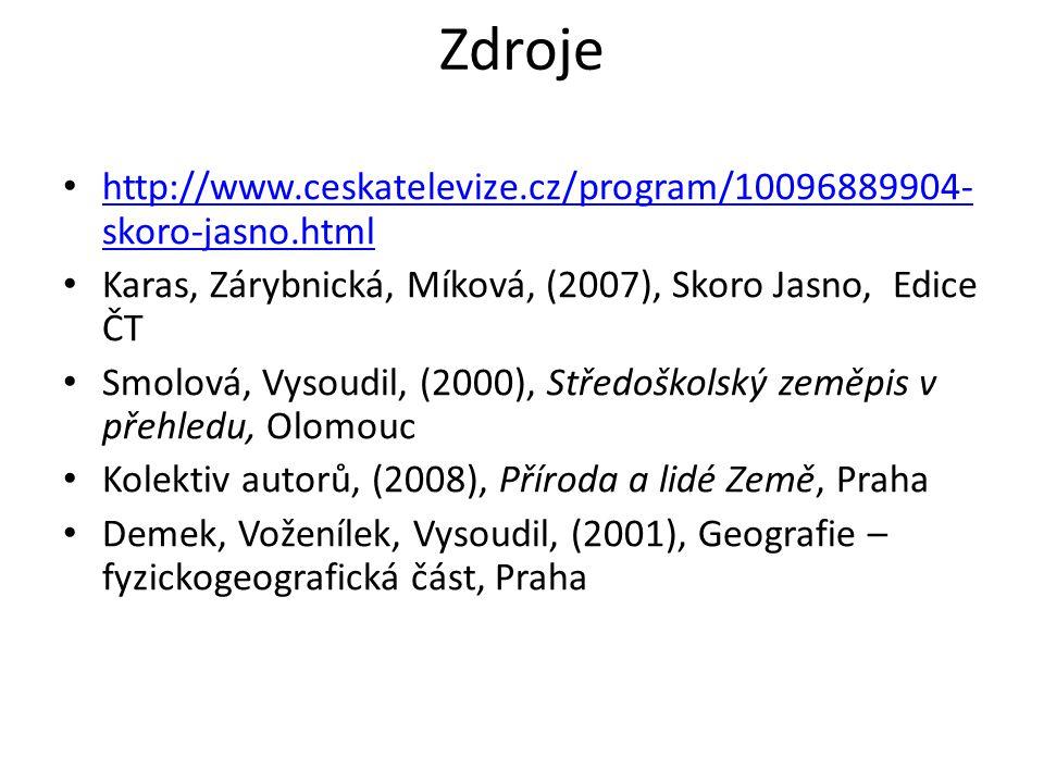 Zdroje http://www.ceskatelevize.cz/program/10096889904-skoro-jasno.html. Karas, Zárybnická, Míková, (2007), Skoro Jasno, Edice ČT.