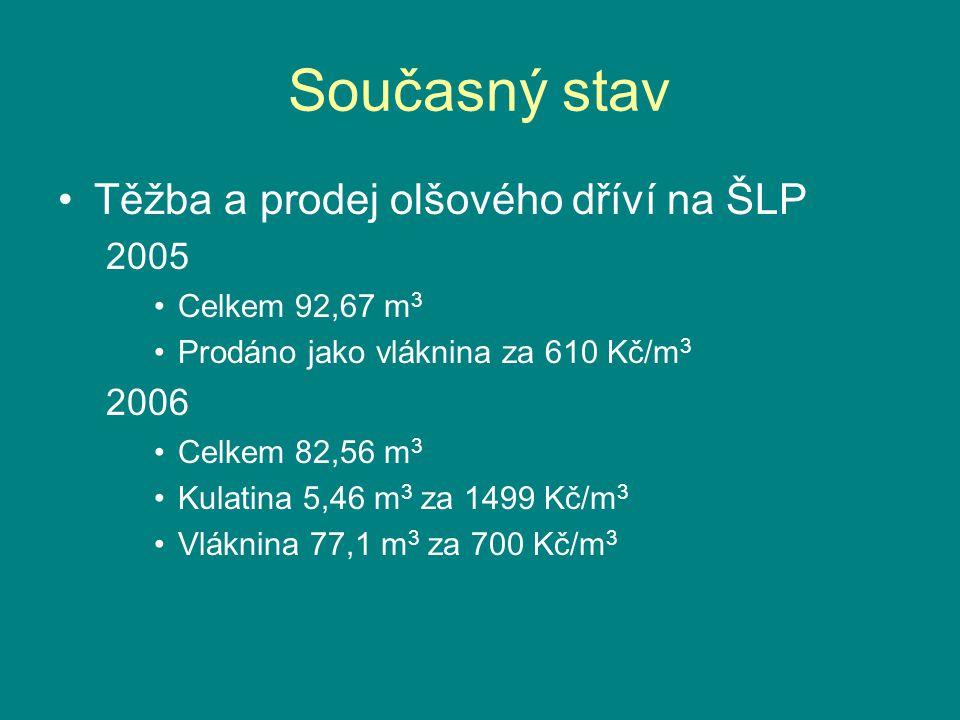 Současný stav Těžba a prodej olšového dříví na ŠLP 2005 2006