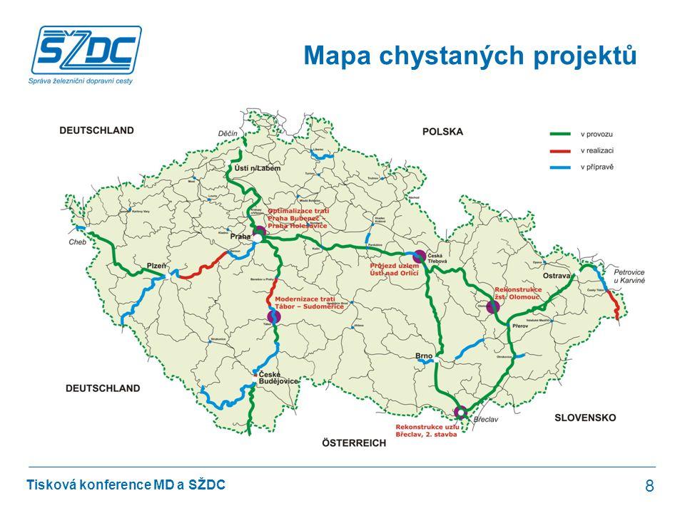 Mapa chystaných projektů
