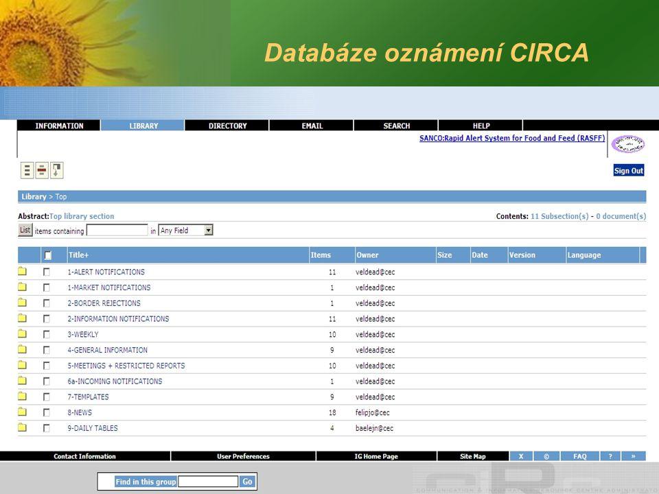 Databáze oznámení CIRCA
