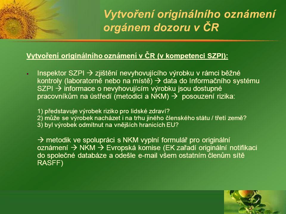 Vytvoření originálního oznámení orgánem dozoru v ČR