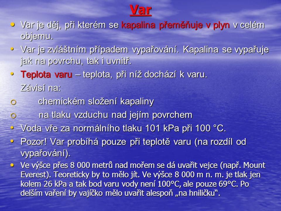 Var Var je děj, při kterém se kapalina přeměňuje v plyn v celém objemu.