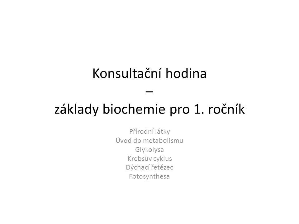 Konsultační hodina – základy biochemie pro 1. ročník