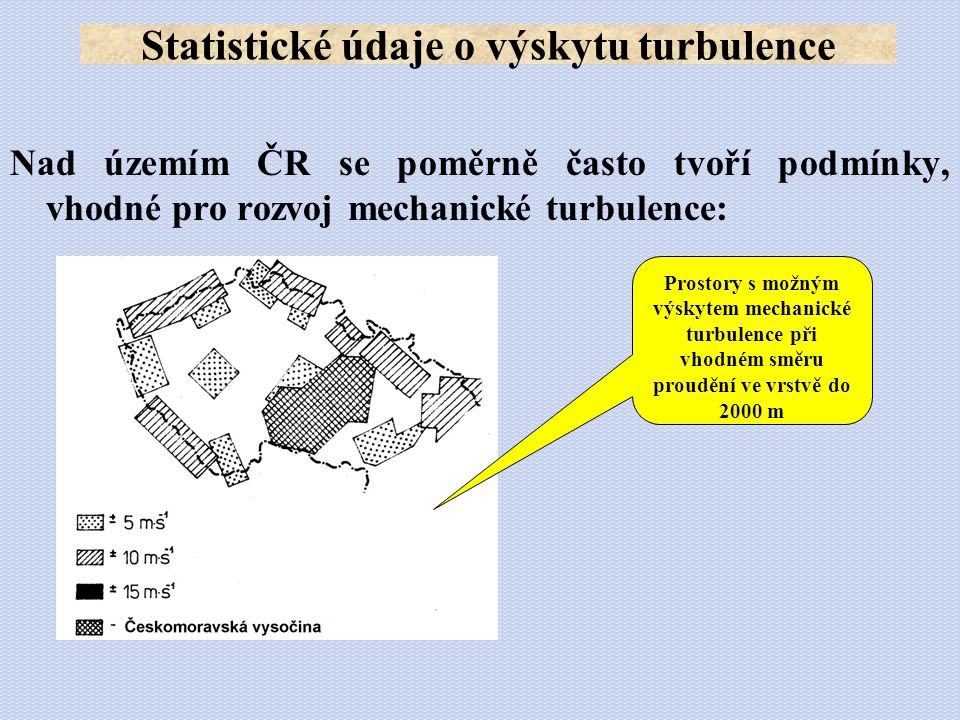 Statistické údaje o výskytu turbulence