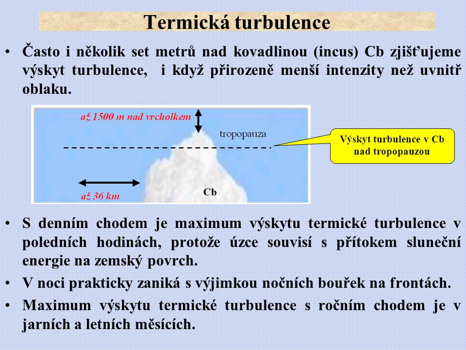 Výskyt turbulence v Cb nad tropopauzou
