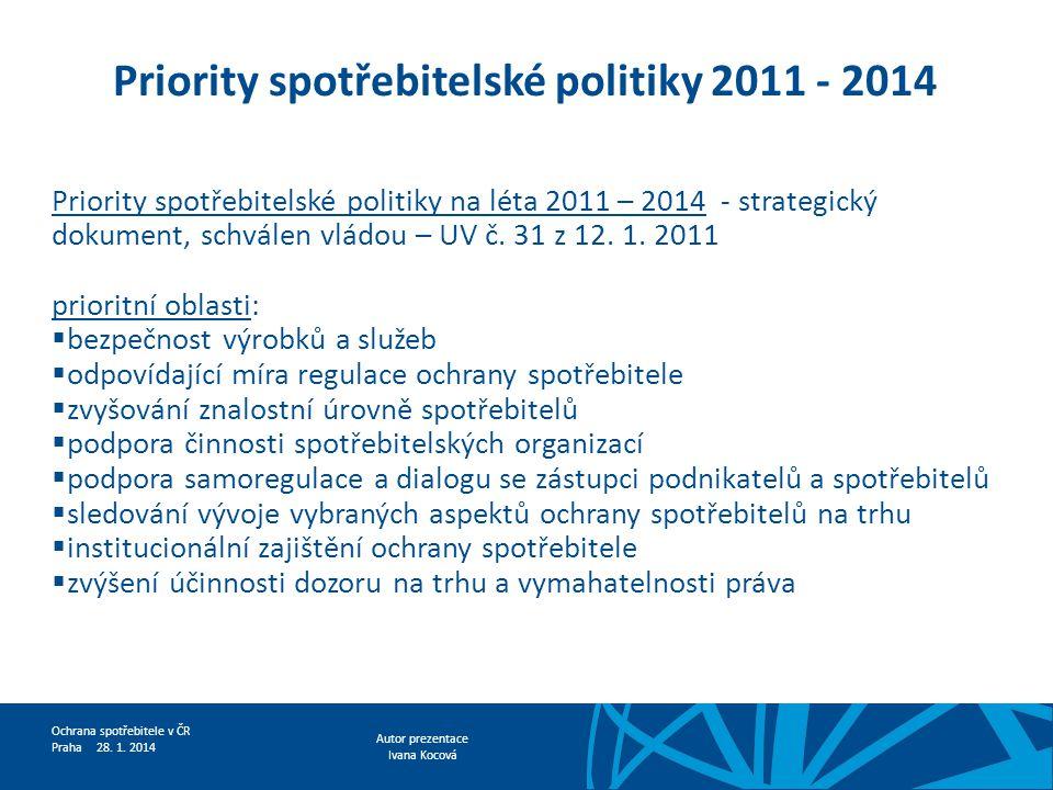 Priority spotřebitelské politiky 2011 - 2014