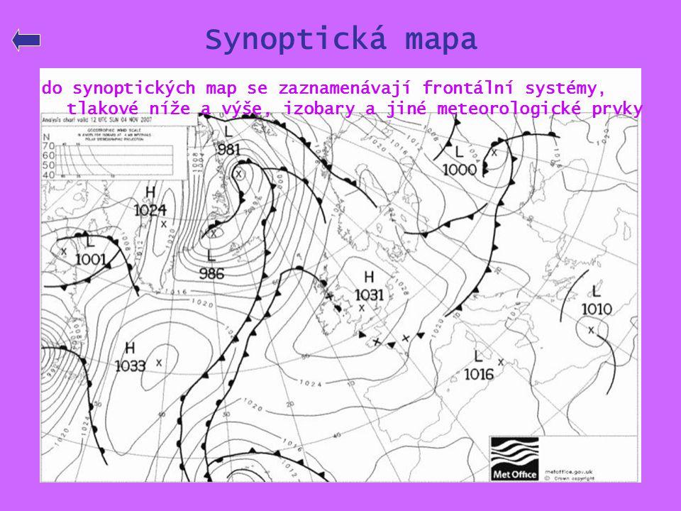 Synoptická mapa do synoptických map se zaznamenávají frontální systémy, tlakové níže a výše, izobary a jiné meteorologické prvky.
