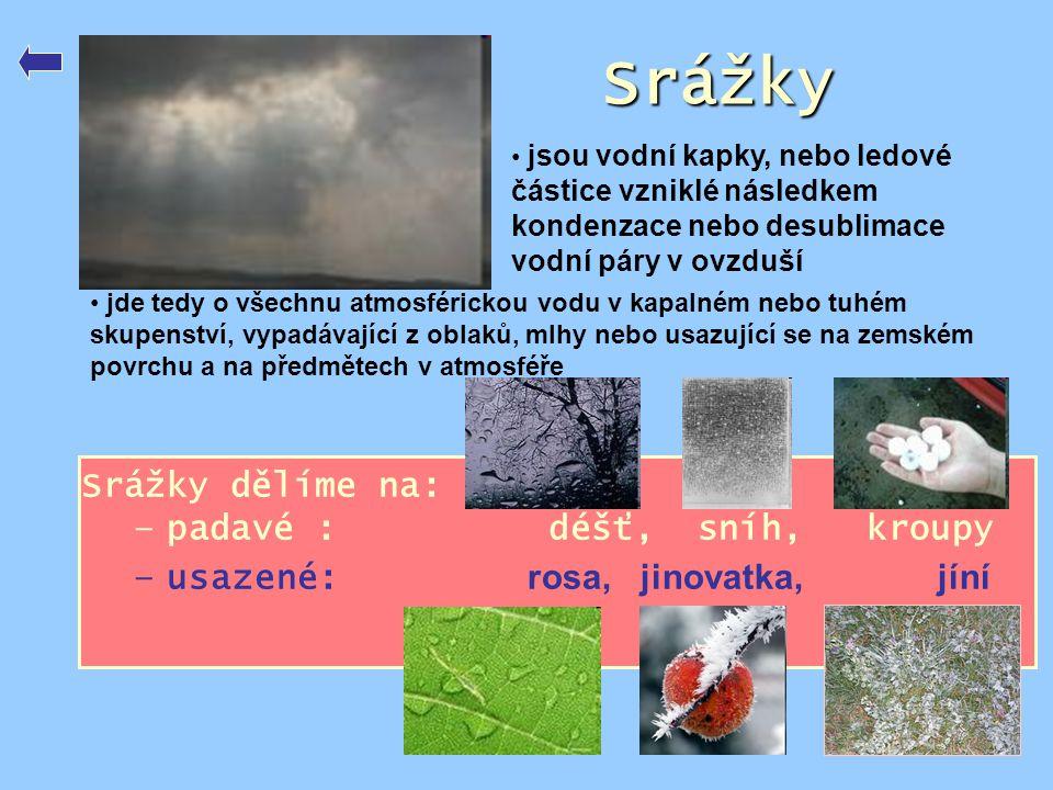 Srážky Srážky dělíme na: padavé : déšť, sníh, kroupy