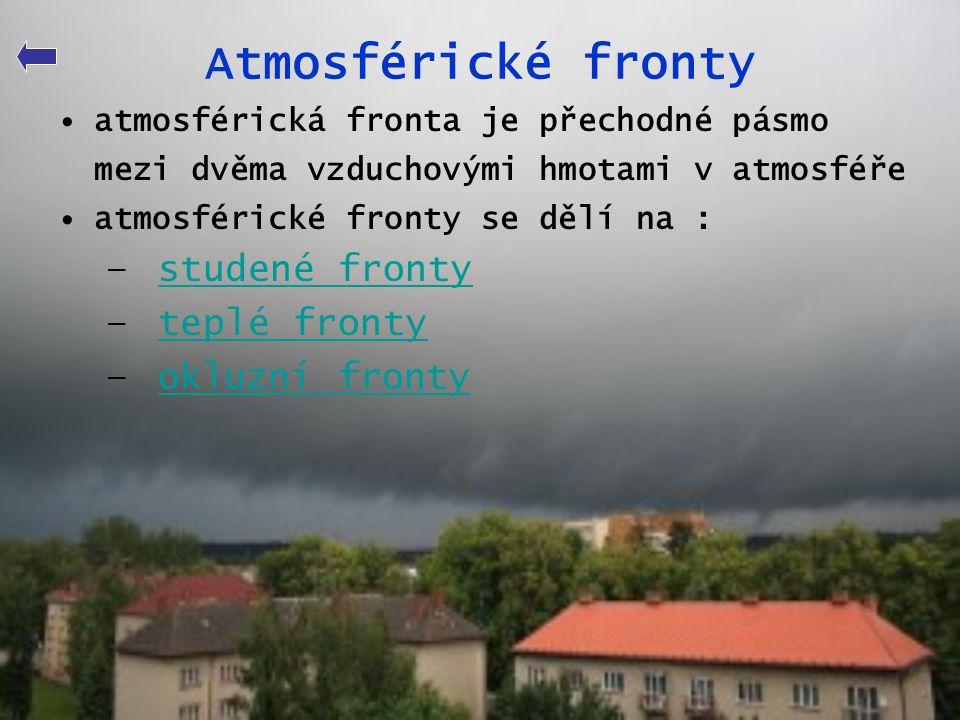 Atmosférické fronty studené fronty teplé fronty okluzní fronty