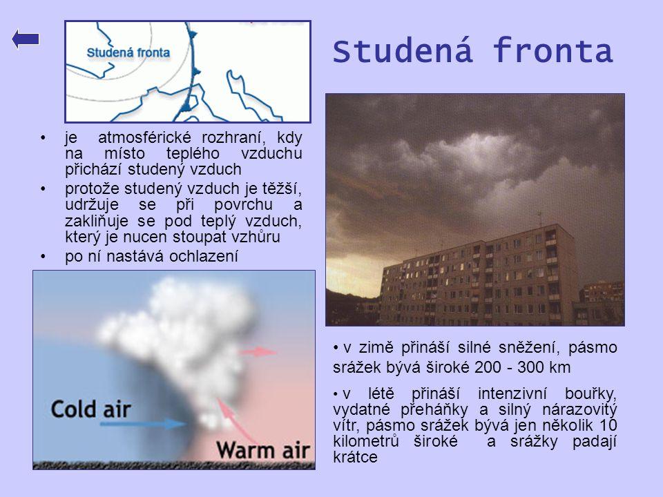Studená fronta je atmosférické rozhraní, kdy na místo teplého vzduchu přichází studený vzduch.