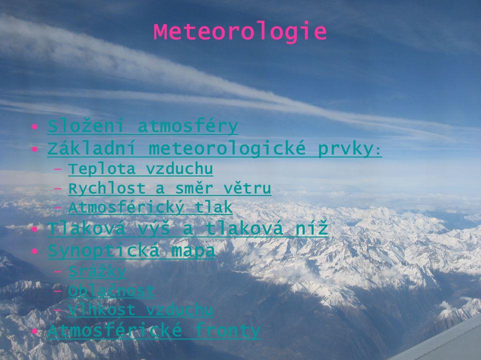 Meteorologie Složení atmosféry Základní meteorologické prvky: