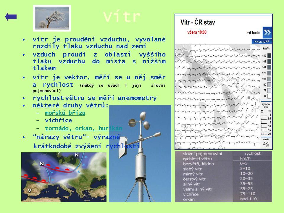 Vítr vítr je proudění vzduchu, vyvolané rozdíly tlaku vzduchu nad zemí