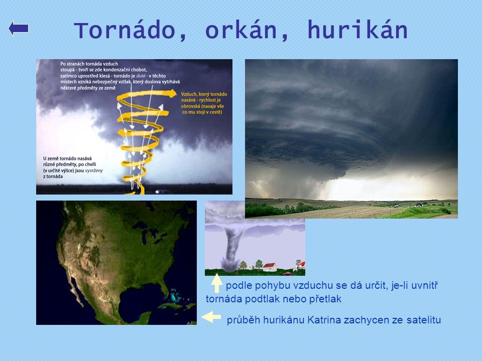 Tornádo, orkán, hurikán podle pohybu vzduchu se dá určit, je-li uvnitř tornáda podtlak nebo přetlak.