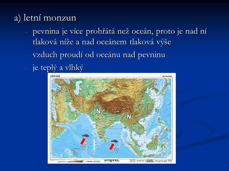 a) letní monzun pevnina je více prohřátá než oceán, proto je nad ní tlaková níže a nad oceánem tlaková výše.