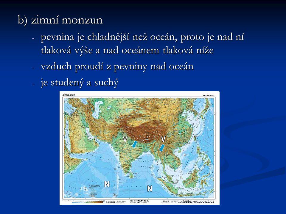 b) zimní monzun pevnina je chladnější než oceán, proto je nad ní tlaková výše a nad oceánem tlaková níže.