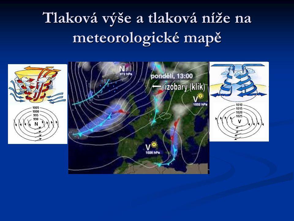 Tlaková výše a tlaková níže na meteorologické mapě