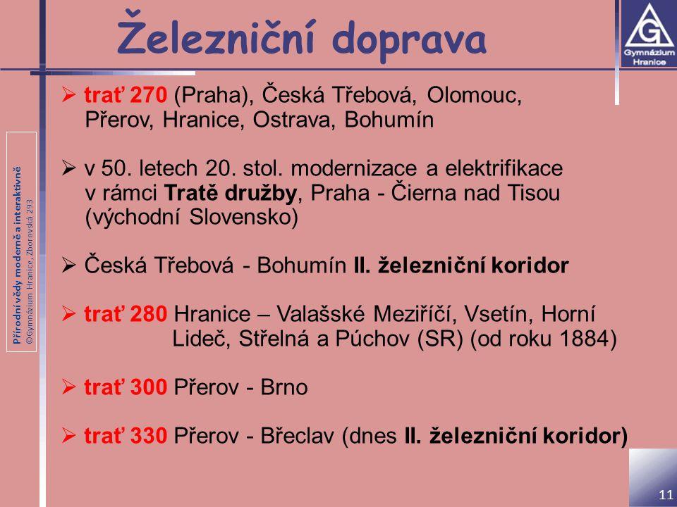 Železniční doprava trať 270 (Praha), Česká Třebová, Olomouc,