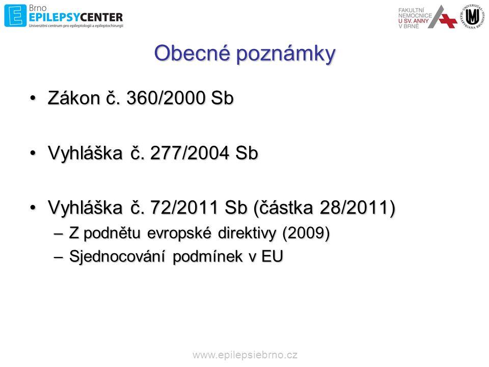 Obecné poznámky Zákon č. 360/2000 Sb Vyhláška č. 277/2004 Sb