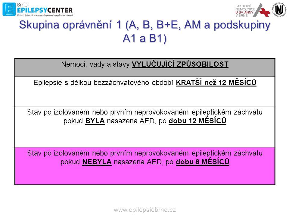 Skupina oprávnění 1 (A, B, B+E, AM a podskupiny A1 a B1)