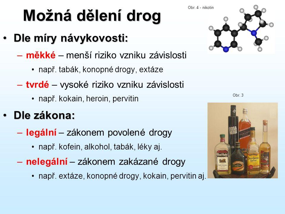 Možná dělení drog Dle míry návykovosti: Dle zákona: