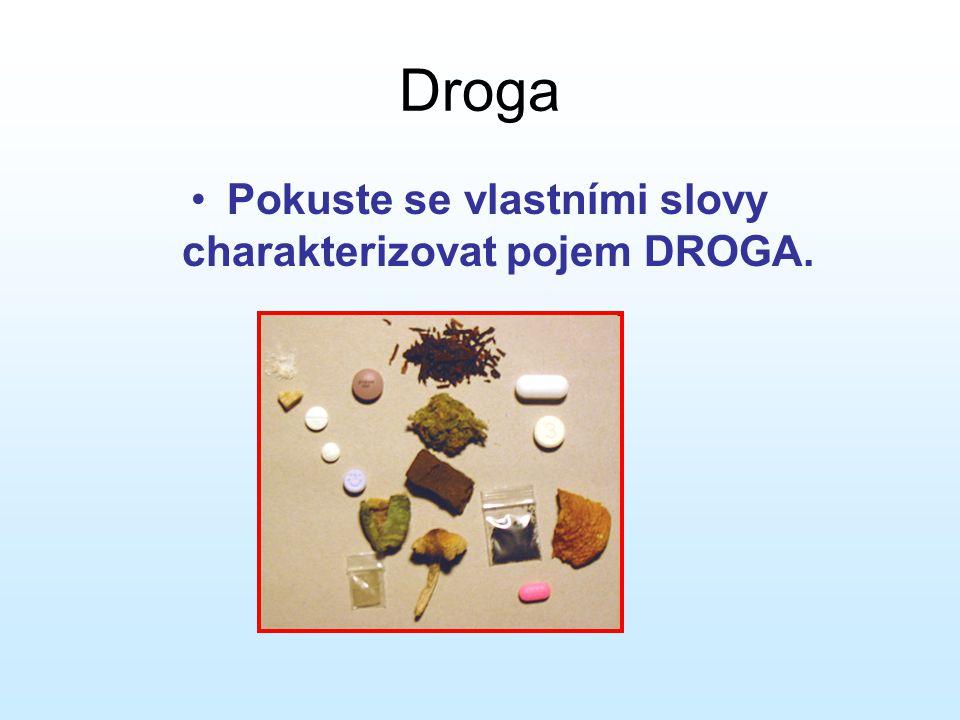 Pokuste se vlastními slovy charakterizovat pojem DROGA.